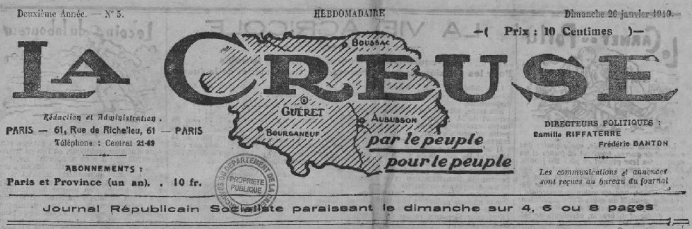 Photo (Creuse. Archives départementales) de : La Creuse. Paris, 1918-1919. ISSN 2125-0030.