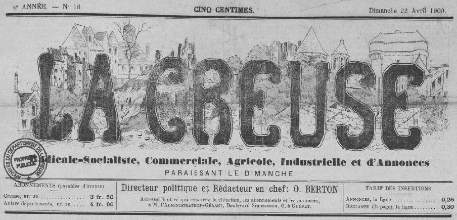 Photo (Creuse. Archives départementales) de : La Creuse. Guéret, 1900-1906. ISSN 2125-0057.