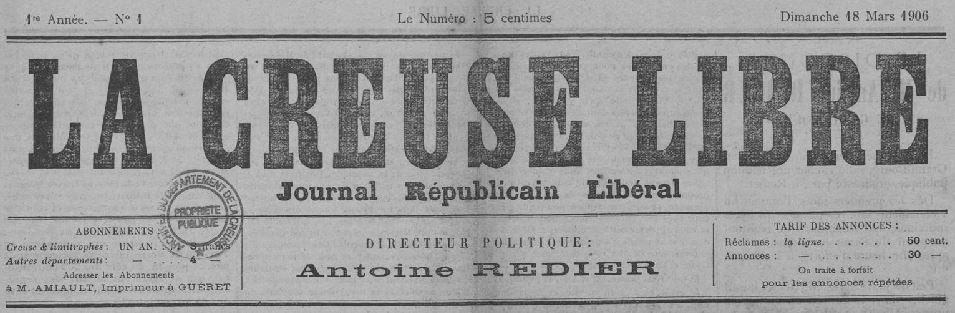 Photo (Creuse. Archives départementales) de : La Creuse libre. Guéret, 1906. ISSN 2125-009X.