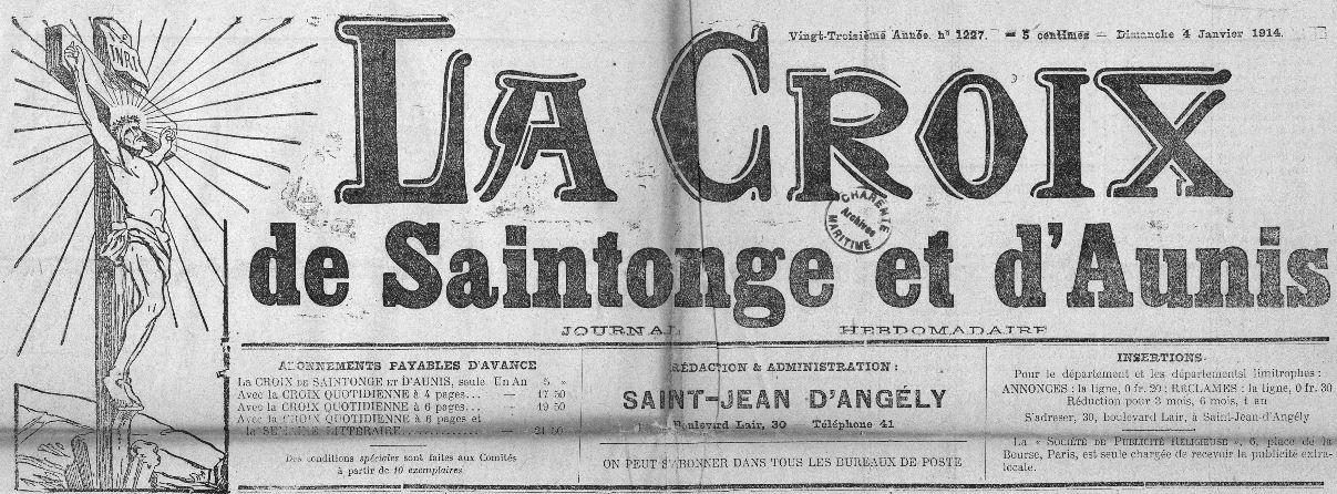 Photo (Charente-Maritime. Archives départementales) de : La Croix de Saintonge et d'Aunis. Saint-Jean d'Angély, 1892-1938. ISSN 2125-2629.
