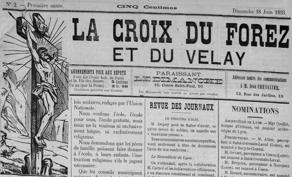 Photo (Saint-Étienne. Archives municipales) de : La Croix du Forez et du Velay. Saint-Étienne, 1893-1900. ISSN 2023-2209.