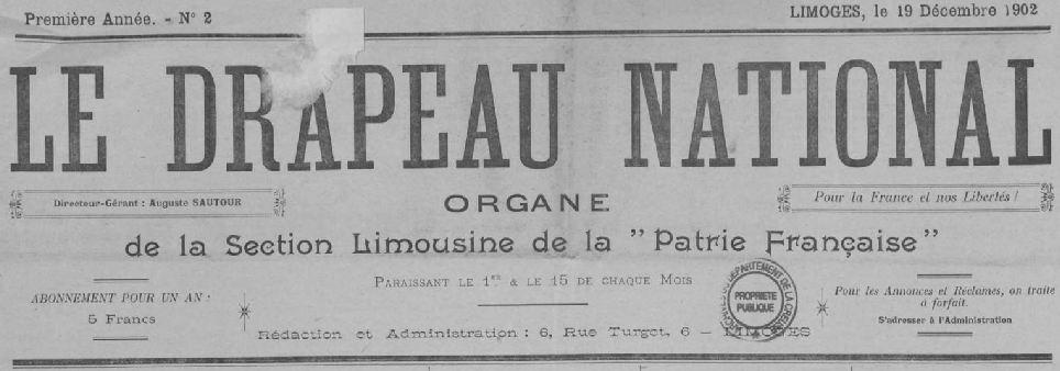 Photo (Creuse. Archives départementales) de : Le Drapeau national. Limoges, 1902-1911. ISSN 2125-9860.