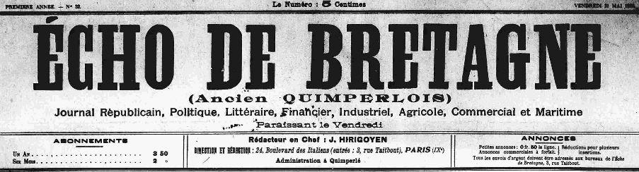 Photo (Finistère. Archives départementales) de : Écho de Bretagne. Quimperlé, Paris, 1909-1944. ISSN 2126-1415.