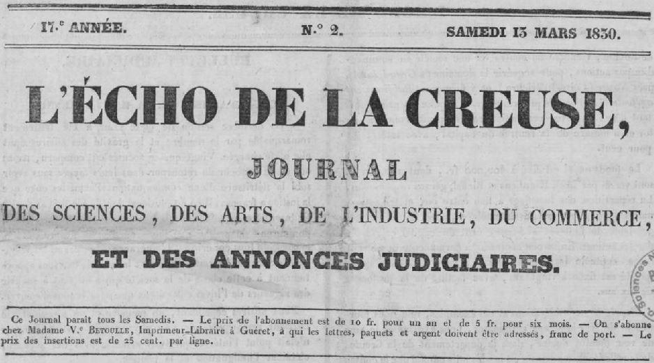 Photo (Creuse. Archives départementales) de : L'Écho de la Creuse. Guéret: M.-P. Bétoulle, 1830-1940. ISSN 2126-2659.
