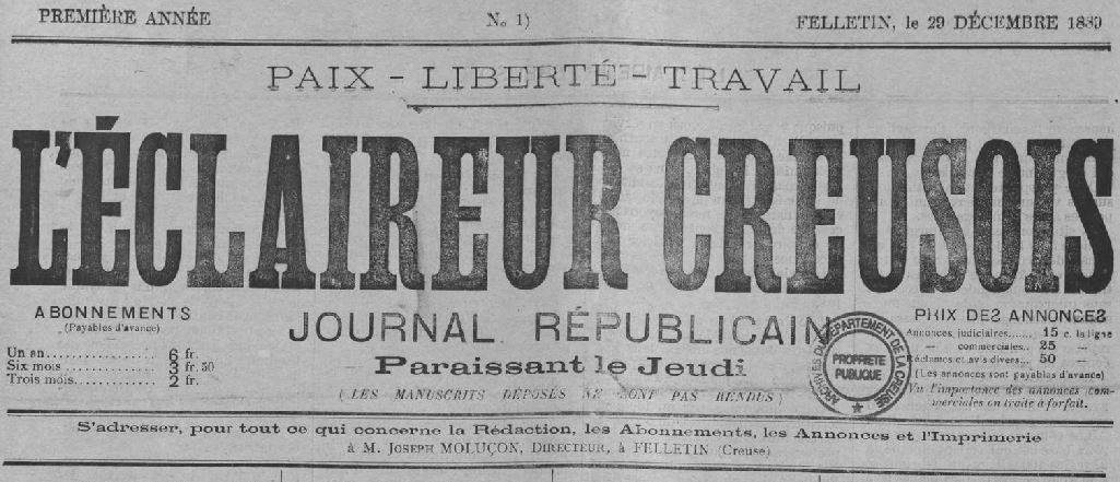 Photo (Creuse. Archives départementales) de : L'Éclaireur creusois. Felletin, 1889-1890. ISSN 2126-9270.
