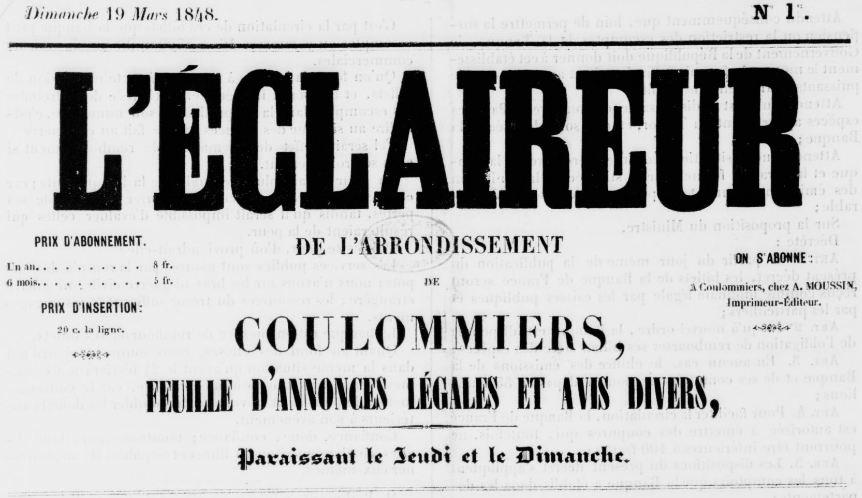 Photo (BnF / Gallica) de : L'Éclaireur de l'arrondissement de Coulommiers. Coulommiers, 1848-1892. ISSN 2126-9416.