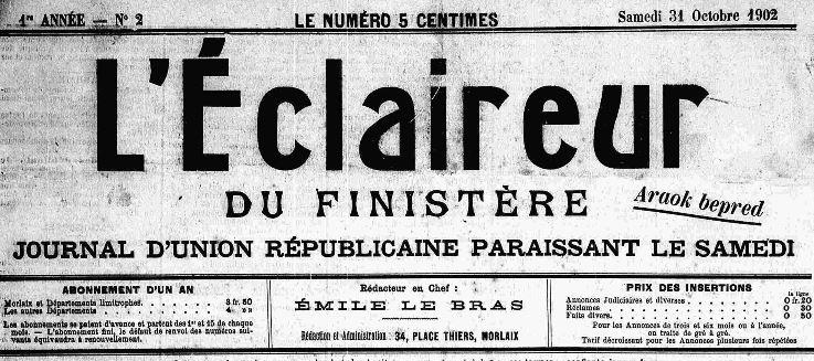 Photo (Finistère. Archives départementales) de : L'Éclaireur du Finistère. Morlaix, 1902-1942. ISSN 2025-6477.