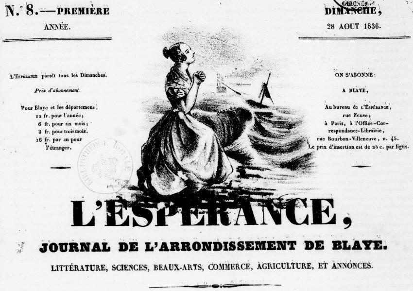 Photo (BnF / Gallica) de : L'Espérance. Blaye, 1836-1904. ISSN 2127-4118.