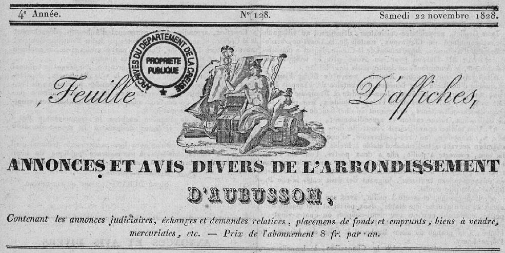 Photo (Creuse. Archives départementales) de : Feuille d'affiches, annonces et avis divers de l'arrondissement d'Aubusson, département de la Creuse. Aubusson, 1825-[1829 ?]. ISSN 2127-8830.