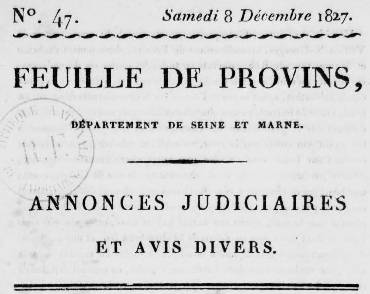 Photo (BnF / Gallica) de : Feuille de Provins. Provins, 1815-1891. ISSN 2127-9845.