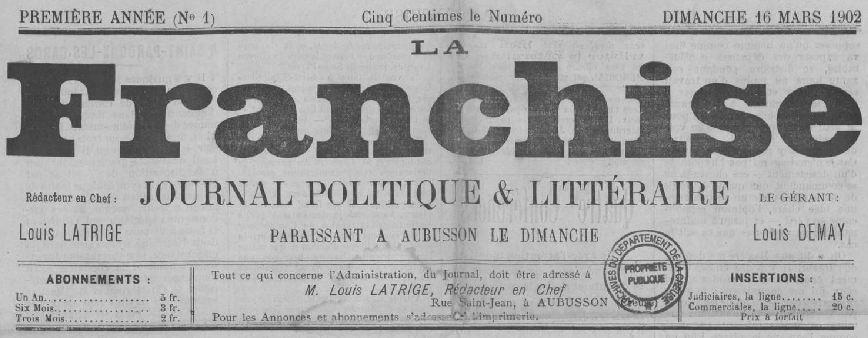 Photo (Creuse. Archives départementales) de : La Franchise. Aubusson, 1902-1904. ISSN 2128-3141.