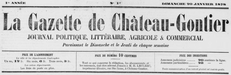 Photo (BnF / Gallica) de : La Gazette de Château-Gontier. Château-Gontier, 1878-1944. ISSN 2128-590X.