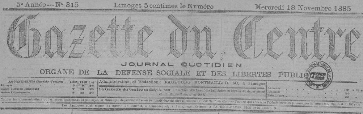 Photo (Creuse. Archives départementales) de : La Gazette du Centre. Limoges, 1881-1932. ISSN 2128-7341.