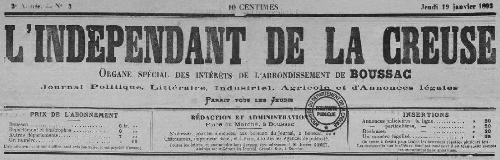 Photo (Creuse. Archives départementales) de : L'Indépendant de la Creuse. Boussac, 1892-1913. ISSN 2129-5298.