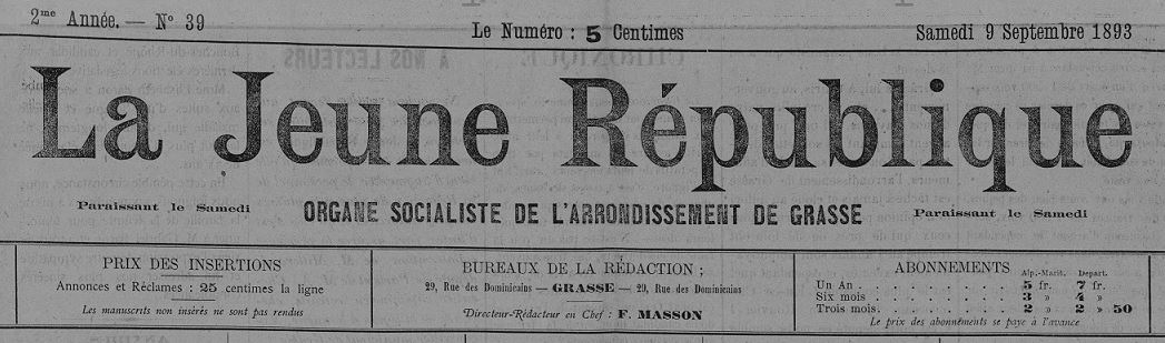 Photo (Bibliothèque municipale (Grasse, Alpes-Maritimes)) de : La Jeune république. Grasse, 1893-1894. ISSN 2130-0887.