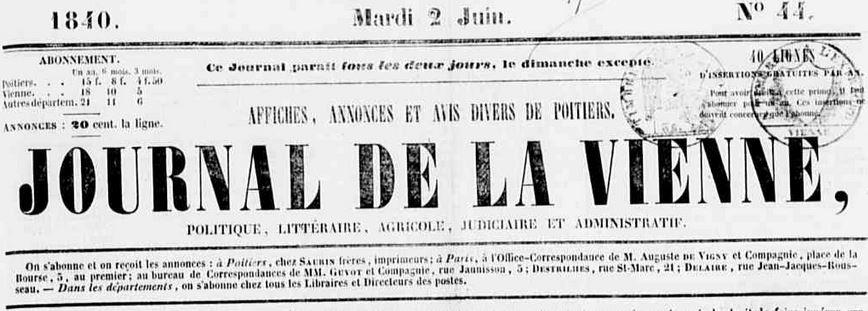Photo (Médiathèque François-Mitterrand (Poitiers)) de : Journal de la Vienne. Poitiers: Saurin frères, imprimeurs, 1840-1921. ISSN 2016-9892.