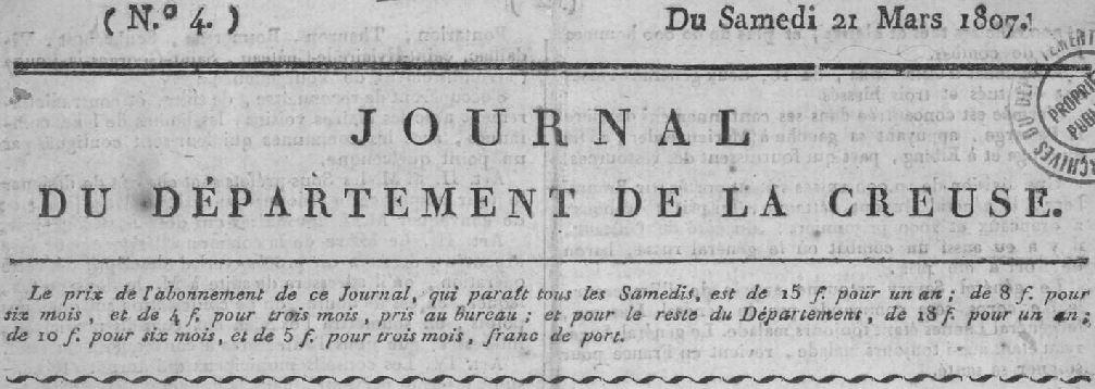 Photo (Creuse. Archives départementales) de : Journal du département de la Creuse. Guéret, 1807-1819. ISSN 2130-8594.