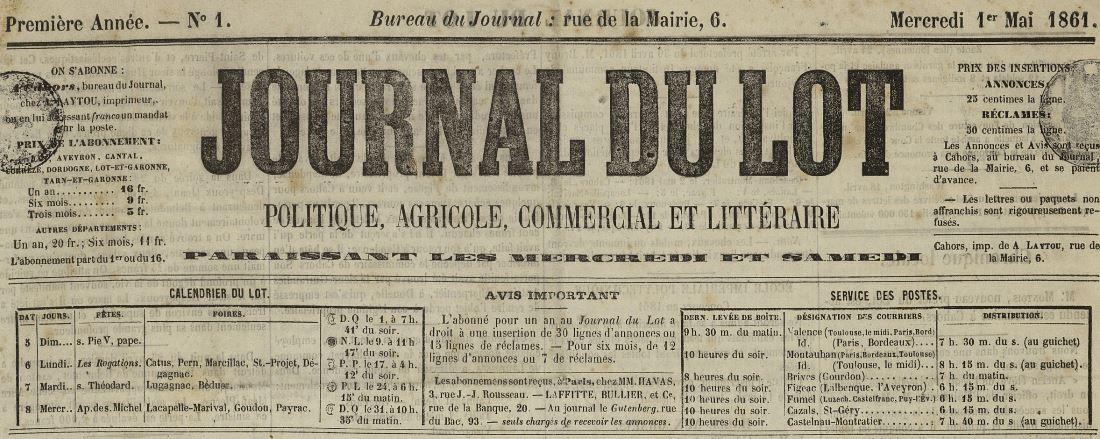 Photo (Lot. Archives départementales) de : Journal du Lot. Cahors: impr. Antoine Laytou, 1861-1944. ISSN 2111-8396.