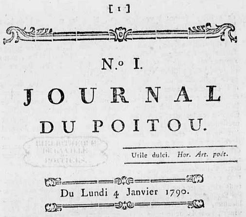 Photo (Médiathèque François-Mitterrand (Poitiers)) de : Journal du Poitou. A Poitiers: chez M.-V. Chevrier, 1790. ISSN 2017-3806.