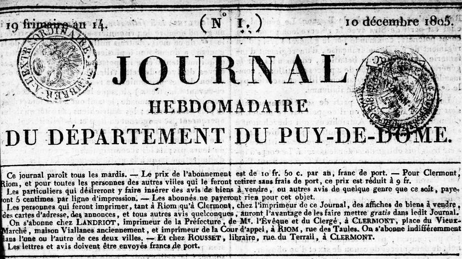 Photo (Bibliothèque du patrimoine de Clermont Auvergne métropole) de : Journal hebdomadaire du département du Puy-de-Dôme. Clermont-Ferrand, 1805-1831. ISSN 2130-954X.
