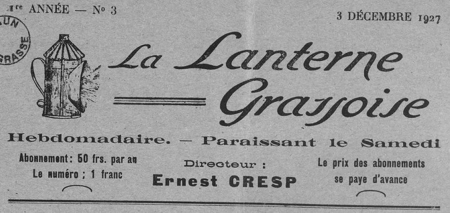 Photo (Bibliothèque municipale (Grasse, Alpes-Maritimes)) de : La Lanterne grassoise. Grasse, 1927-[1929 ?]. ISSN 2131-1579.