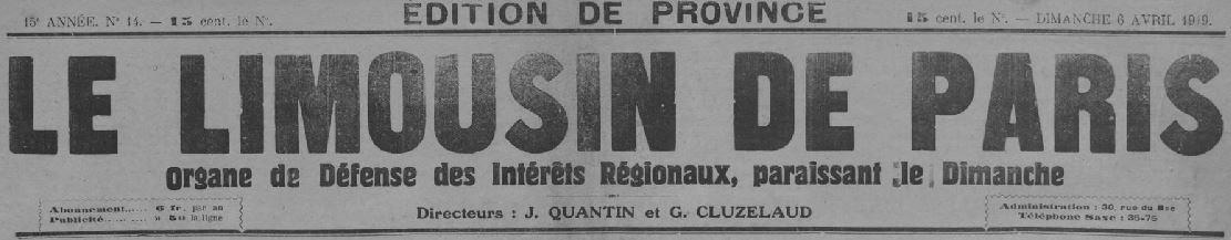 Photo (Creuse. Archives départementales) de : Le Limousin de Paris. Paris, 1905-1940. ISSN 2131-4675.