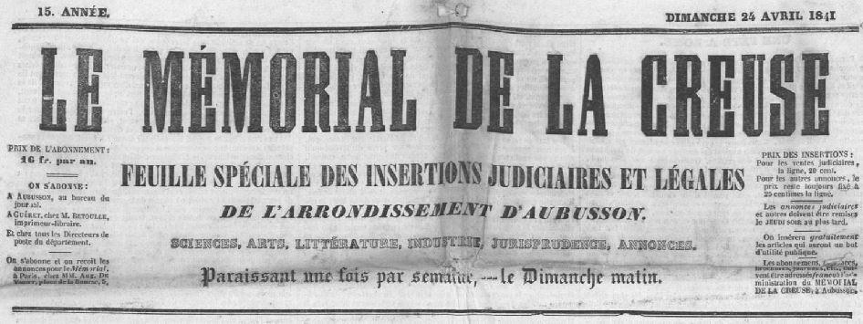 Photo (Creuse. Archives départementales) de : Le Mémorial de la Creuse. Aubusson: S.-L. Bouyet, 1841-1898. ISSN 2132-0020.