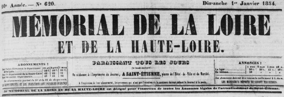 Photo (Haute-Loire. Archives départementales) de : Mémorial de la Loire et de la Haute-Loire. Saint-Étienne, 1854-1930. ISSN 1261-6087.
