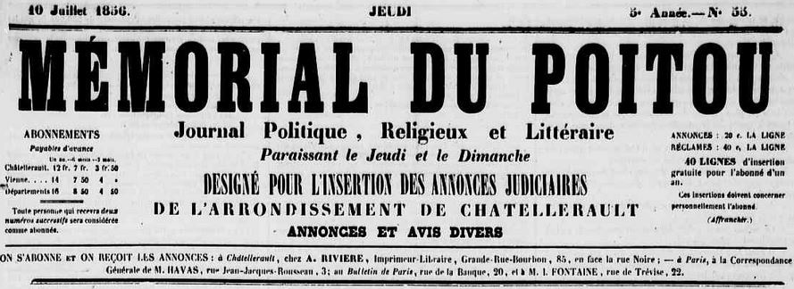 Photo (Médiathèque François-Mitterrand (Poitiers)) de : Le Mémorial du Poitou. Châtellerault, [1856 ?]-1923. ISSN 2132-0179.