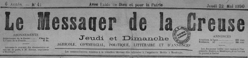 Photo (Creuse. Archives départementales) de : Le Messager de la Creuse. Montluçon, Guéret, 1885-1940. ISSN 2132-1035.