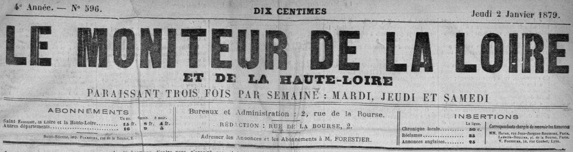 Photo (Saint-Étienne. Archives municipales) de : Le Moniteur de la Loire et de la Haute-Loire. Saint-Étienne, 1876-1888. ISSN 2017-5868.