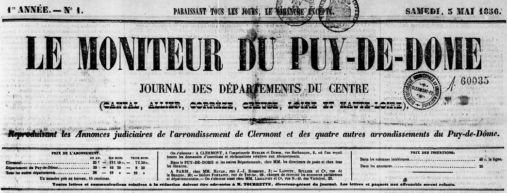 Photo (Bibliothèque du patrimoine de Clermont Auvergne métropole) de : Le Moniteur du Puy-de-Dôme. Clermont-Ferrand, 1856-1944. ISSN 2132-4891.