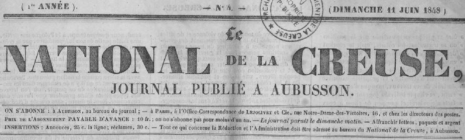 Photo (Creuse. Archives départementales) de : Le National de la Creuse. Aubusson: Veuve Bouyet, 1848-1849. ISSN 2132-7610.