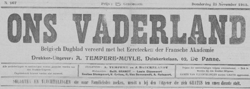 Photo (Pas-de-Calais. Archives départementales) de : Ons Vaderland. La Panne (Belgique), Calais, 1915-1918. ISSN 2133-3076.