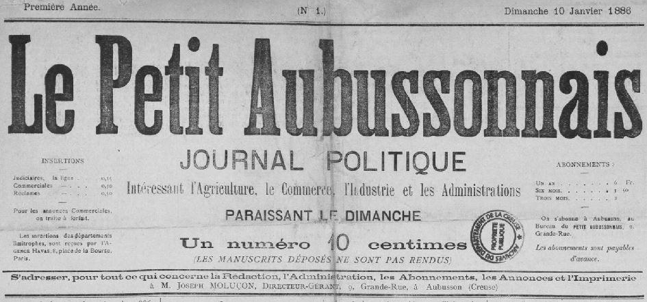 Photo (Creuse. Archives départementales) de : Le Petit Aubussonnais. Aubusson, 1886-1898. ISSN 2133-9333.