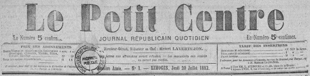 Photo (Creuse. Archives départementales) de : Le Petit Centre. Limoges, 1882-[1904 ?]. ISSN 2134-0242.