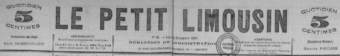 Photo (Creuse. Archives départementales) de : Le Petit limousin. Limoges, 1888-[1889 ?]. ISSN 2134-2393.
