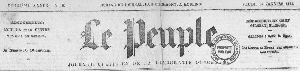 Photo (Creuse. Archives départementales) de : Le Peuple. Moulins, 1871-1872. ISSN 2134-812X.