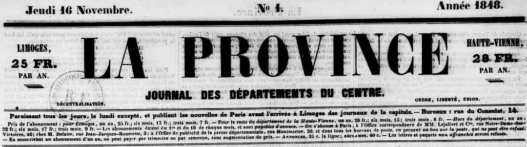 Photo (Bibliothèque francophone multimédia (Limoges)) de : La Province. Limoges, 1848-1852. ISSN 2135-6467.