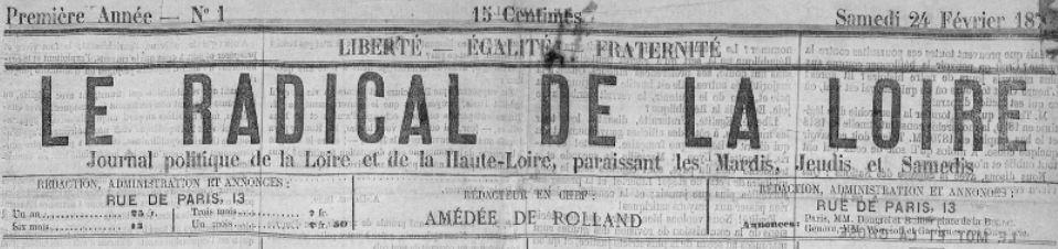 Photo (Saint-Étienne. Archives municipales) de : Le Radical de la Loire. Saint-Étienne, 1872. ISSN 2018-4263.