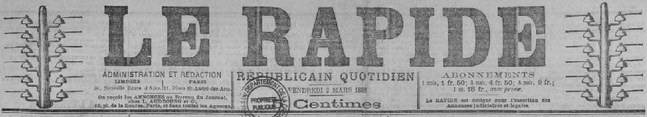 Photo (Creuse. Archives départementales) de : Le Rapide. Limoges, 1887-1889. ISSN 2135-9350.