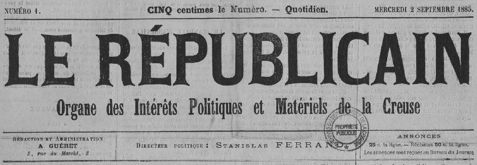 Photo (Creuse. Archives départementales) de : Le Républicain. Guéret, 1885. ISSN 2136-2025.