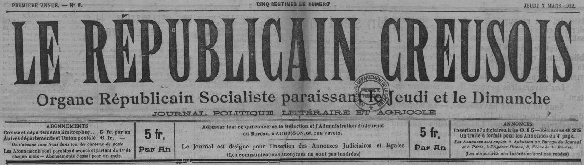 Photo (Creuse. Archives départementales) de : Le Républicain creusois. Aubusson, 1912. ISSN 2136-2270.