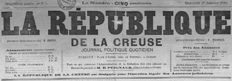 Photo (Creuse. Archives départementales) de : La République de la Creuse. Guéret, 1890-1899. ISSN 2136-5253.