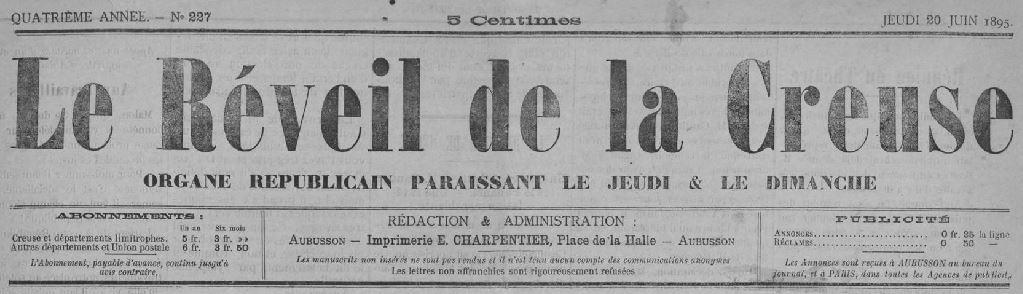 Photo (Creuse. Archives départementales) de : Le Réveil de la Creuse. Aubusson, 1895-1944. ISSN 2136-8112.