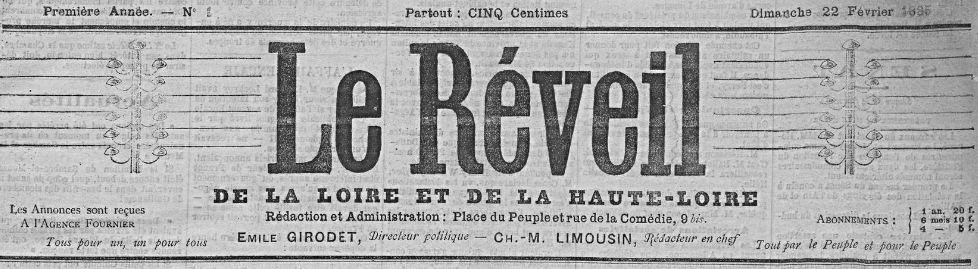 Photo (Saint-Étienne. Archives municipales) de : Le Réveil de la Loire et de la Haute-Loire. Saint-Étienne, 1885. ISSN 2136-8201.