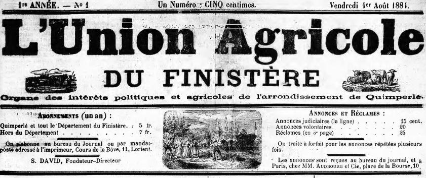 Photo (Finistère. Archives départementales) de : L'Union agricole du Finistère. Quimperlé, 1884-1886. ISSN 2139-2641.
