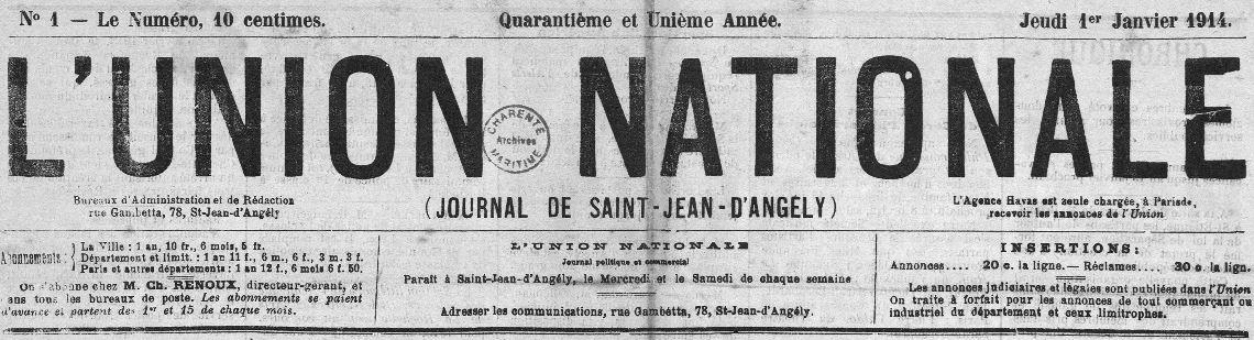 Photo (Charente-Maritime. Archives départementales) de : L'Union nationale. Saint-Jean-d'Angély, 1898-1923. ISSN 2139-4717.