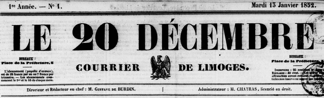 Photo (Bibliothèque francophone multimédia (Limoges)) de : Le 20 décembre. Limoges, 1852-1860. ISSN 2120-0076.