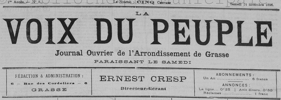 Photo (Bibliothèque municipale (Grasse, Alpes-Maritimes)) de : La Voix du peuple. Grasse, 1896-1927. ISSN 2140-2515.